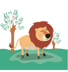 lion animal caricature in forest landscape vector image