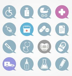 Medicine web icons set in color speech clouds vector image