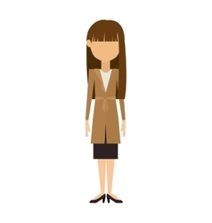 woman in dress and long brunette hair vector image