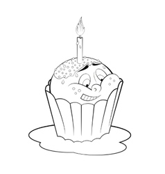 Cartoon cupcake with candle Coloring page vector image