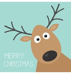 Cute cartoon deer face with horn Merry christmas vector image vector image