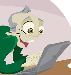Man on computer vector image