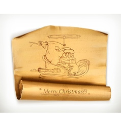 Merry Christmas old scroll vector image vector image
