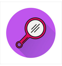 mirror line simple icon on circle background vector image vector image
