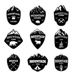 set of mountain tourism hiking emblems design vector image vector image