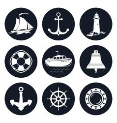 Set of Round Marine Icons vector image