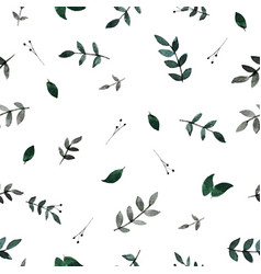 watercolor floral soft green seamless pattern vector image