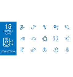 15 connection icons vector image