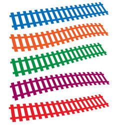 3d colorful railway railroad tracks isolated on vector image