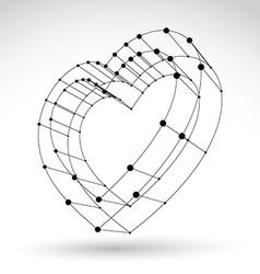 3d mesh stylish web monochrome love heart sign vector
