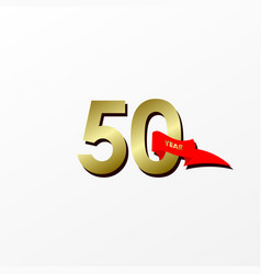50 years anniversary celebration gold with red vector