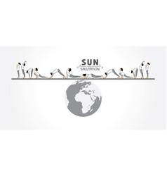 A girl doing sun salutation for international vector