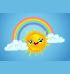 a rainbow with clouds and sun vector image