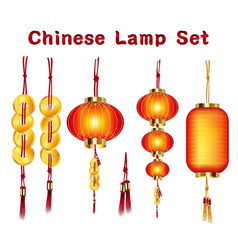 a real chinese lantern and gold set vector image