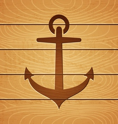 Anchor on wooden background vector