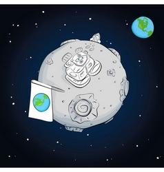Astronaut whith flag on the moon vector