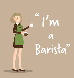 Barista character with coffee cup on brown vector