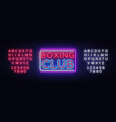 Boxing club neon sign boxing text design vector