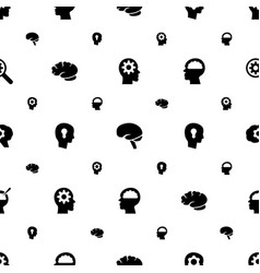 brain icons pattern seamless white background vector image