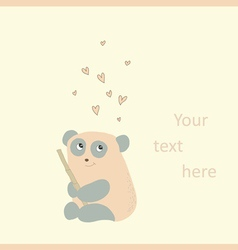 Card with a cute panda in love vector image vector image