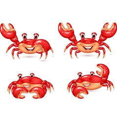 Cartoon happy crab collection set vector image