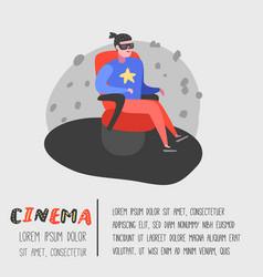 cartoon man watching movie in the cinema vector image