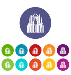 cathedral icons set color vector image