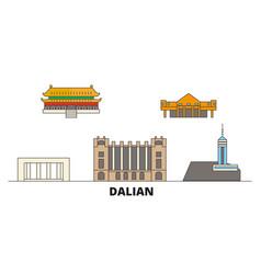 china dalian flat landmarks vector image