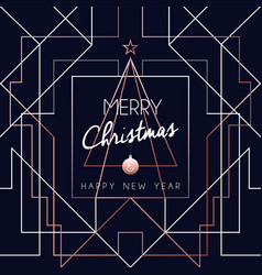 christmas and new year copper outline tree card vector image