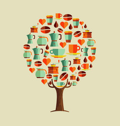 coffee drink icon set tree concept for cafe vector image