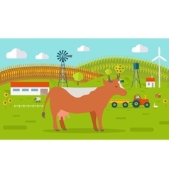 Cow on Farmyard Concept vector
