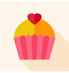 Cupcake with heart vector