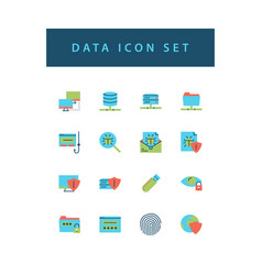 data sharing icon set with colorful modern flat vector image
