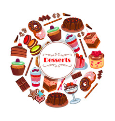 Dessert and pastry sweets cartoon poster design vector