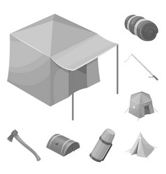 different kinds of tents monochrome icons in set vector image
