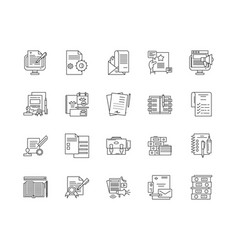 documents line icons signs set outline vector image
