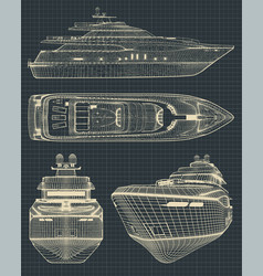 drawings of a modern yacht vector image