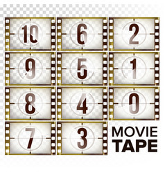 Film countdown numbers 10 - 0 monochrome vector