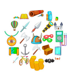 find icons set cartoon style vector image