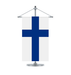 finnish flag on the metallic cross pole vector image
