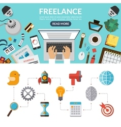 Freelance concept background banner in flat style vector