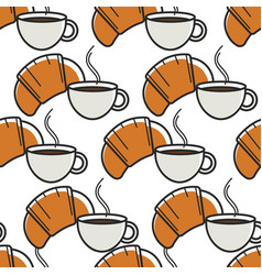 French breakfast seamless pattern croissant and vector