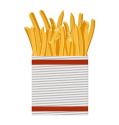 French fries in white paper box vector