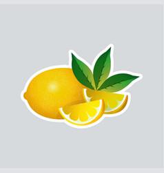fresh juicy lemon sticker tasty ripe fruit icon vector image