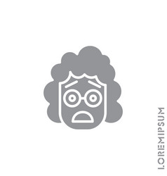 Frowning with open mouth emoji girl woman vector