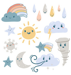 Funny weather set vector