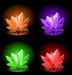 glowing magic crystals vector image