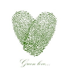 Green fingerprint with heart on a white background vector image