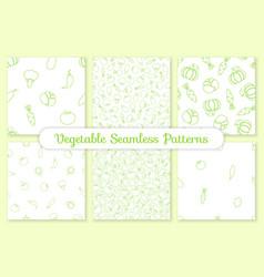 green silhouette vegetable seamless pattern design vector image