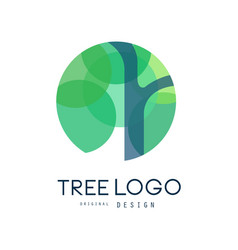 Green tree logo original design green eco circle vector